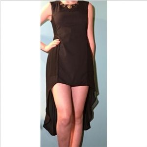 Diana Black Cocktail Dress With Gold Tiger Accent
